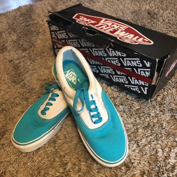 Vans Shoes   Canvas Teal And White Vans